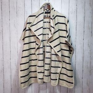 Ann Taylor Ivory Black Striped Wool Blend One Size